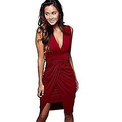Mela London - Red wrapped 'Eleni' v-neck bodycon dress
