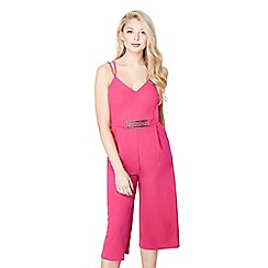 Mela London - Pink belted culottes jumpsuit