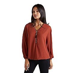 Mela London - Bronze bead tassel zip blouse