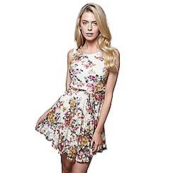 Mela London - Multicoloured floral print 'Esha' mini skater dress