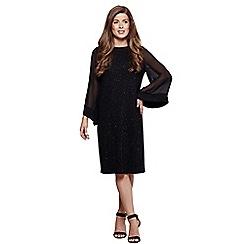Mela London - Black shimmer 'Bridget' flared sleeve tunic dress