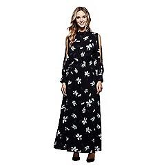 Mela London - Black floral print 'Vanesa' sleeveless maxi dress