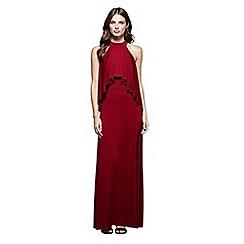 Mela London - Red soft frill 'Klara' halter neck maxi dress