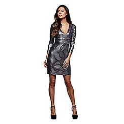 Mela London - Silver metallic 'Larissa' plunge bodycon dress