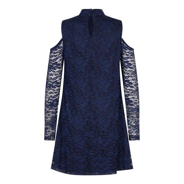 Mela dress 'Zunairah' Navy shoulder London cold lace tunic ZqrxFnZ