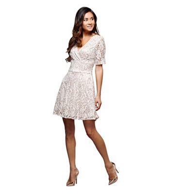 50417671e537 Mela London Cream textured v-neck Bobbie mini skater dress