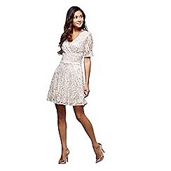 a254e78be4 Mela London - Cream textured v-neck Bobbie mini skater dress