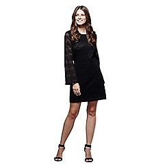 Mela London - Black lace 'Vienna' bell sleeve lace dress
