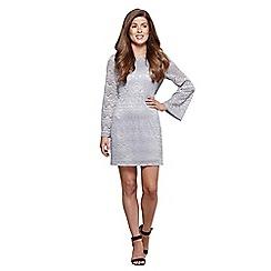 Mela London - Silver lace 'Vienna' bell sleeve bodycon dress
