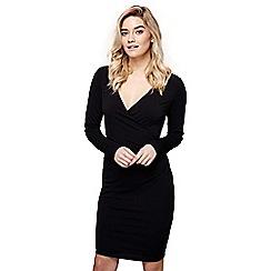 Mela London - Black ruched 'Tanya' v-neck wrap dress
