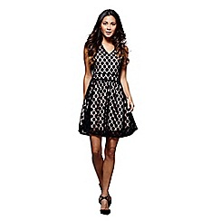 Mela London - Black textured spot print 'Saira' skater dress