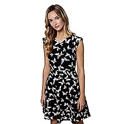 Mela London - Black butterfly pattern 'Lily-grace' mini skater dress