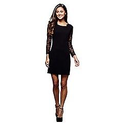 Mela London - Black lace 'Meadow' sheer sleeves pencil dress