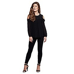 Mela London - Black cut-out shoulder lace top