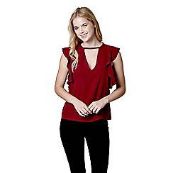 Mela London - Red ruffle sleeve top
