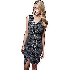 Mela London - Grey pattern 'Devon' sleeveless wrap dress