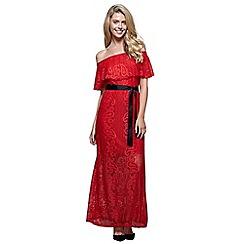 Mela London - Red floral print 'Alia' maxi bardot dress