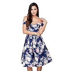 Mela London - Navy floral print 'farica' prom dress