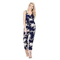 Mela London - Navy floral drawstring waist jumpsuit