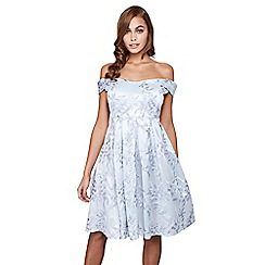 Mela London - Blue embossed 'Juniper' flower prom dress