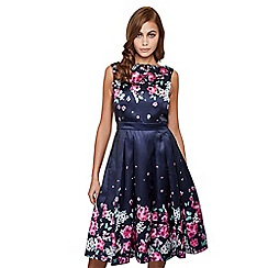 Mela London - Navy gradual floral 'kadisha' prom dress