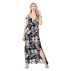 Mela London - Navy floral print 'Magnolia' wrap over maxi dress