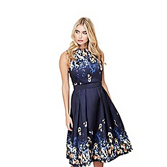 Mela London - Navy mirrored floral 'armelle' prom dress