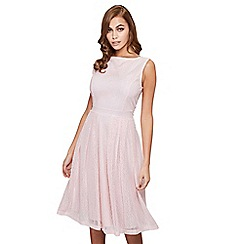 Mela London - Pink patterned 'Frances' sleeveless prom dress