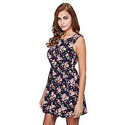 Mela London - Navy floral print 'Adele' sleeveless skater dress