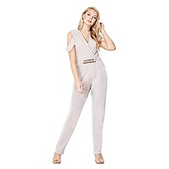 Mela London - Mid rose jersey cold shoulder jumpsuit