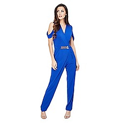 Mela London - Blue cold shoulder buckle detail jumpsuit