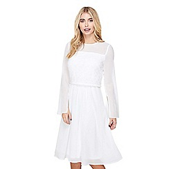 Mela London - White lace 'galina' sheer sleeve dress