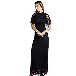 Mela London - Black floral lace 'Demari' cape maxi dress