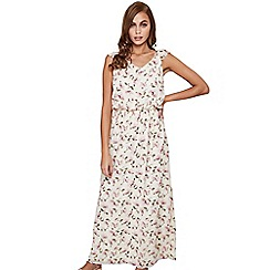 Mela London - Cream floral print 'Kairi' short sleeve maxi dress