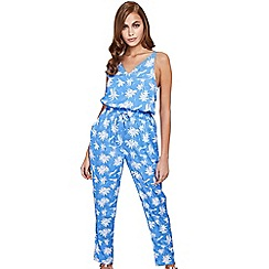 Mela London - Blue palm tree jumpsuit