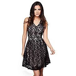 Mela London - Black floral lace 'carlotta' skater dress