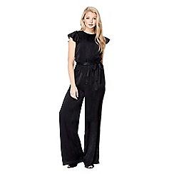 Mela London - Black frill sleeve textured jumpsuit