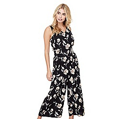 Mela London - Black floral wide leg jumpsuit
