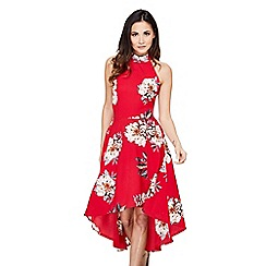 Mela London - Red floral 'Nahara' halterneck dress