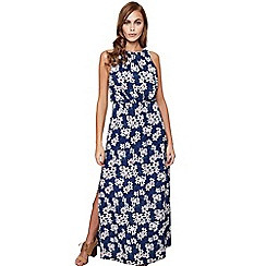 Mela London - Navy floral 'Jillian' high neck maxi dress