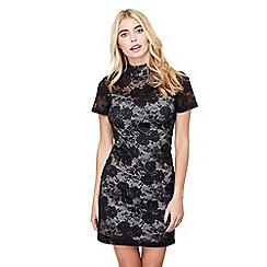Mela London - Black lace 'guinevere' high neck bodycon dress