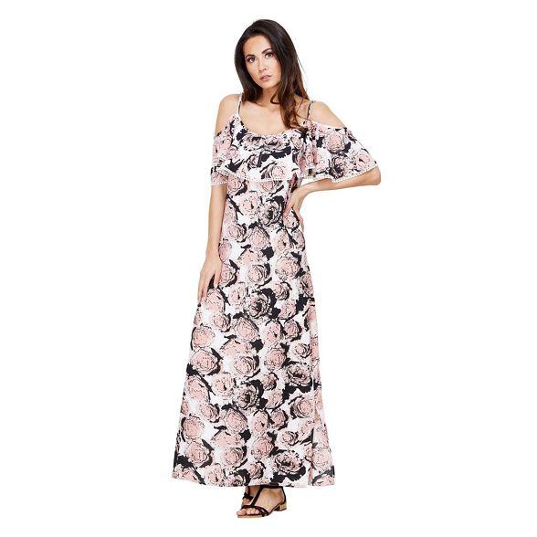 'Gracen' Pink print Mela floral London maxi dress wIAxqfZ8