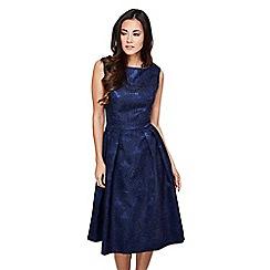 Mela London - Navy embossed floral 'ladonna' prom dress