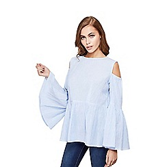 Mela London - Blue oversized cold shoulder smock top