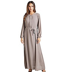 Mela London - Beige pleated 'Denisa' long sleeve maxi dress
