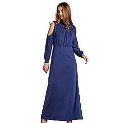 Mela London - Navy plain 'chandi' cold shoulder maxi dress
