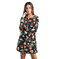 Mela London - Black bold floral 'celita' tunic dress