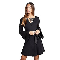 Mela London - Black plain 'Charae' trumpet sleeve skater dress