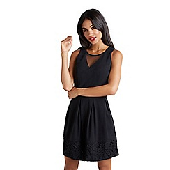 Mela London - Black floral lace 'Deleah' fit and flare dress