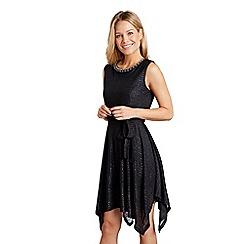 Mela London - Black floral embellished 'Edolia' skater dress